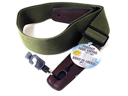 LOCK-IT Guitar Strap Olive Green Cotton Patented Locking Tec