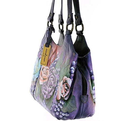 Leather Lush Lilac Womens Triple Anuschka Compartment Hand Medium Painted Satchel Handbag 1ZqU5U7x