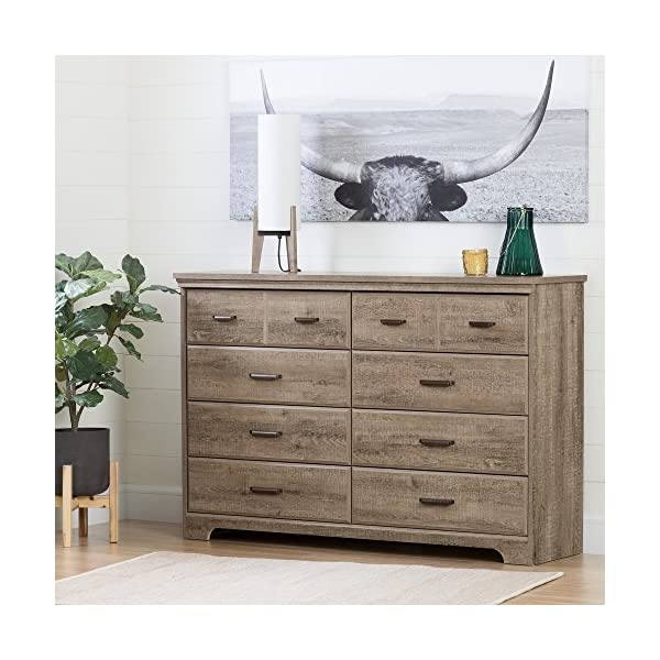South Shore Versa Collection 8-Drawer Double Dresser, Weathered Oak with Antique Handles