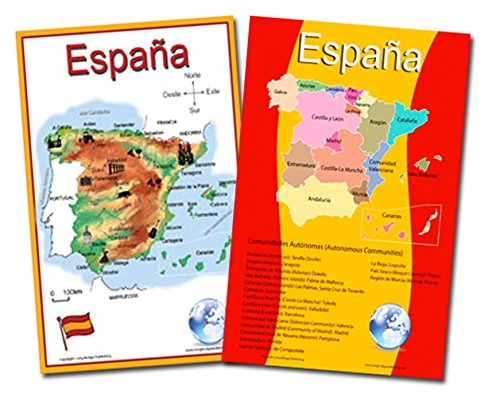 Spanish Language School Poster Set - 2 Maps of Spain: Simplified Map and Map with the 17 Autonomous Communities - Wall Charts for Home and Classroom - Spanish and English Text (11x17 inches) by Long Bridge Publishing
