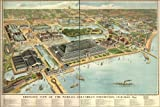 24x36 Poster; Map Worlds Columbian Exposition Fair Chicago 1893; Antique Reprint