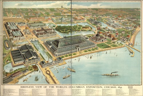 24x36 Poster; Map Worlds Columbian Exposition Fair Chicago 1893; Antique Reprint
