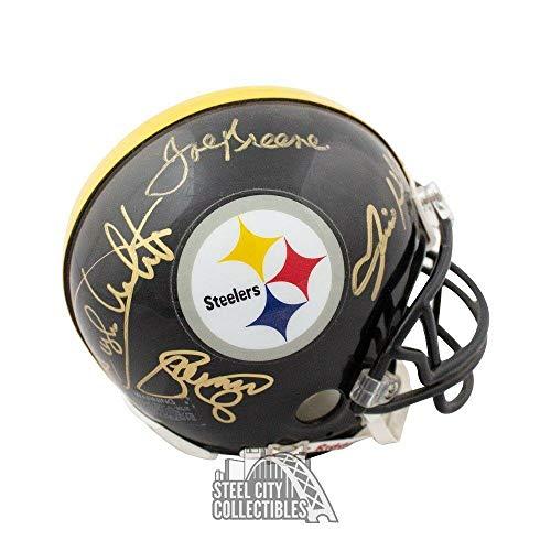 Steel Curtain Autographed Pittsburgh Steelers Black Mini Helmet - COA - JSA Certified - Autographed NFL Mini Helmets ()
