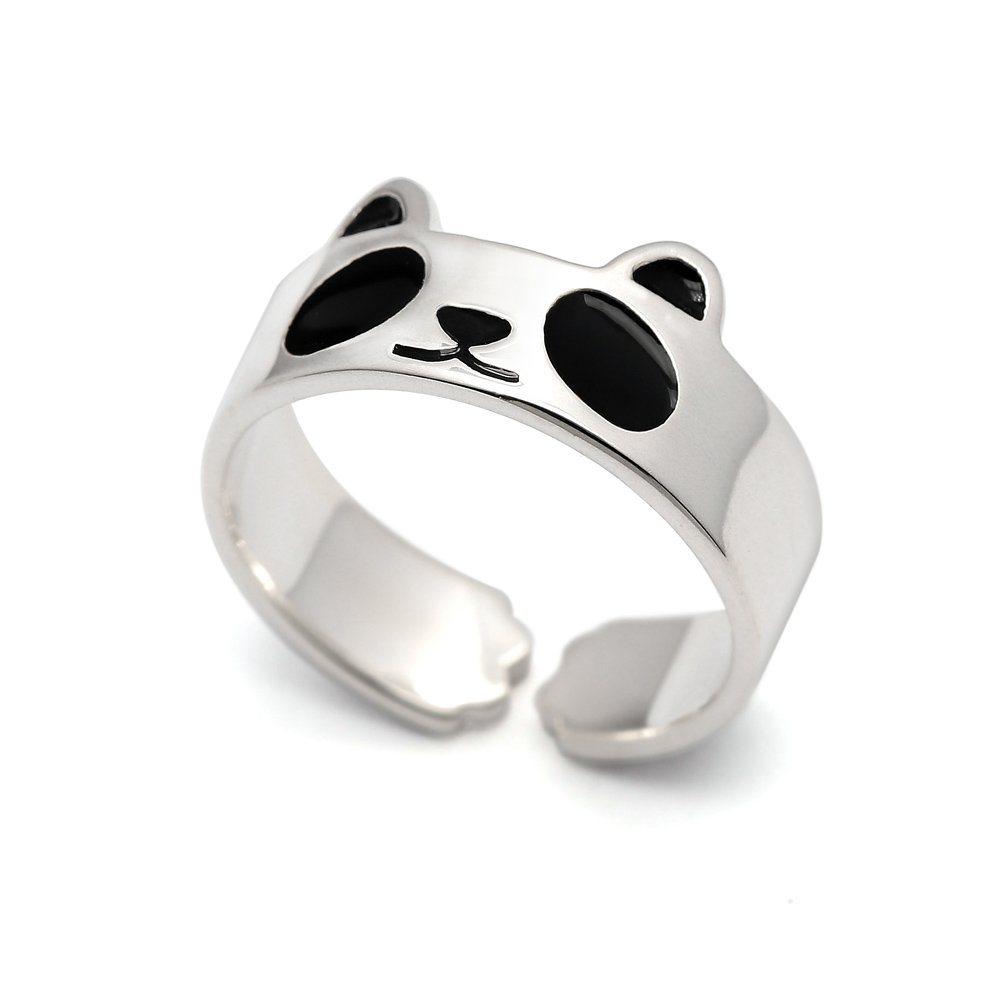 HANFLY Panda ring 925 Sterling silver Fashion Animal Jewelry Adjustable Size (US6)