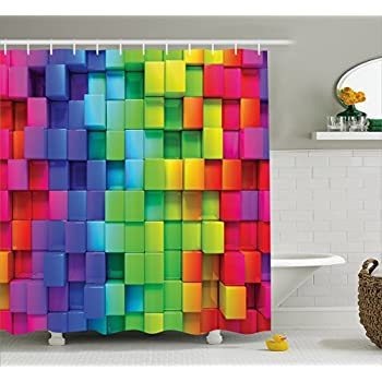Ambesonne Colorful Home Decor Shower Curtain, Rainbow Color Contour Display  Futuristic Block Brick Like