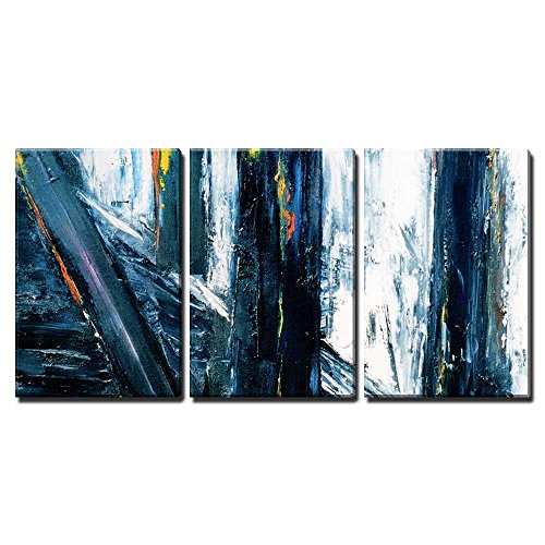 - wall26 - 3 Piece Canvas Wall Art - Very Large Scale Original Abstract Painting on Canvas - Modern Home Decor Stretched and Framed Ready to Hang - 24