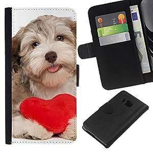BearCase / Cuero de la tarjeta la carpeta del tirón Smartphone Slots Protección Holder /// HTC One M9 /// Havanese de San Valentín del corazón del amor del perro de perrito