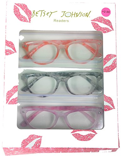 Betsey Johnson 3 Pairs Colorful Marble Reading Glasses Readers +2.00