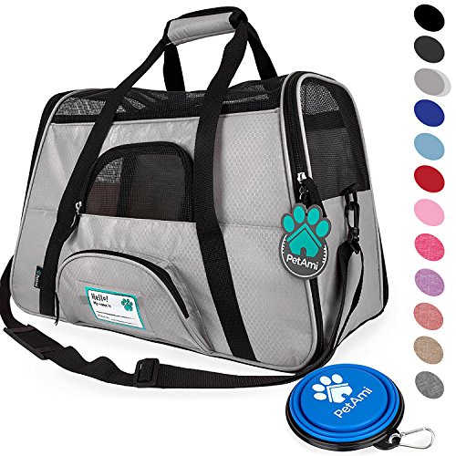 PetAmi Premium Airline Approved Soft-Sided Pet Travel Carrier | Ventilated, Comfortable Design with Safety Features | Ideal for Small to Medium Sized Cats, Dogs, and Pets (Large, Light Gray) ()