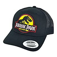 Jurassic Park Yellow Movie Patch Trucker Mesh Back Caps Black Hats by Project T
