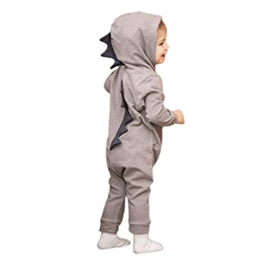 8e1b6e586 FAVOLOOK Dinosaur Baby Romper, Unisex Boys Girls Warm Cotton Hooded Jumpsuit  Bodysuit Outfits Costume Long Sleeve Newborn Kids Pink Grey Cloth Set For  ...