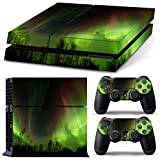 Full Skin Sticker Faceplates for PS4 Console x 1 and Controller x 2 (Northern Lights)