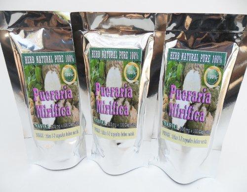 Pueraria Mirifica Pilules Poudre extrait de racine de High Premium année 300 Caps.
