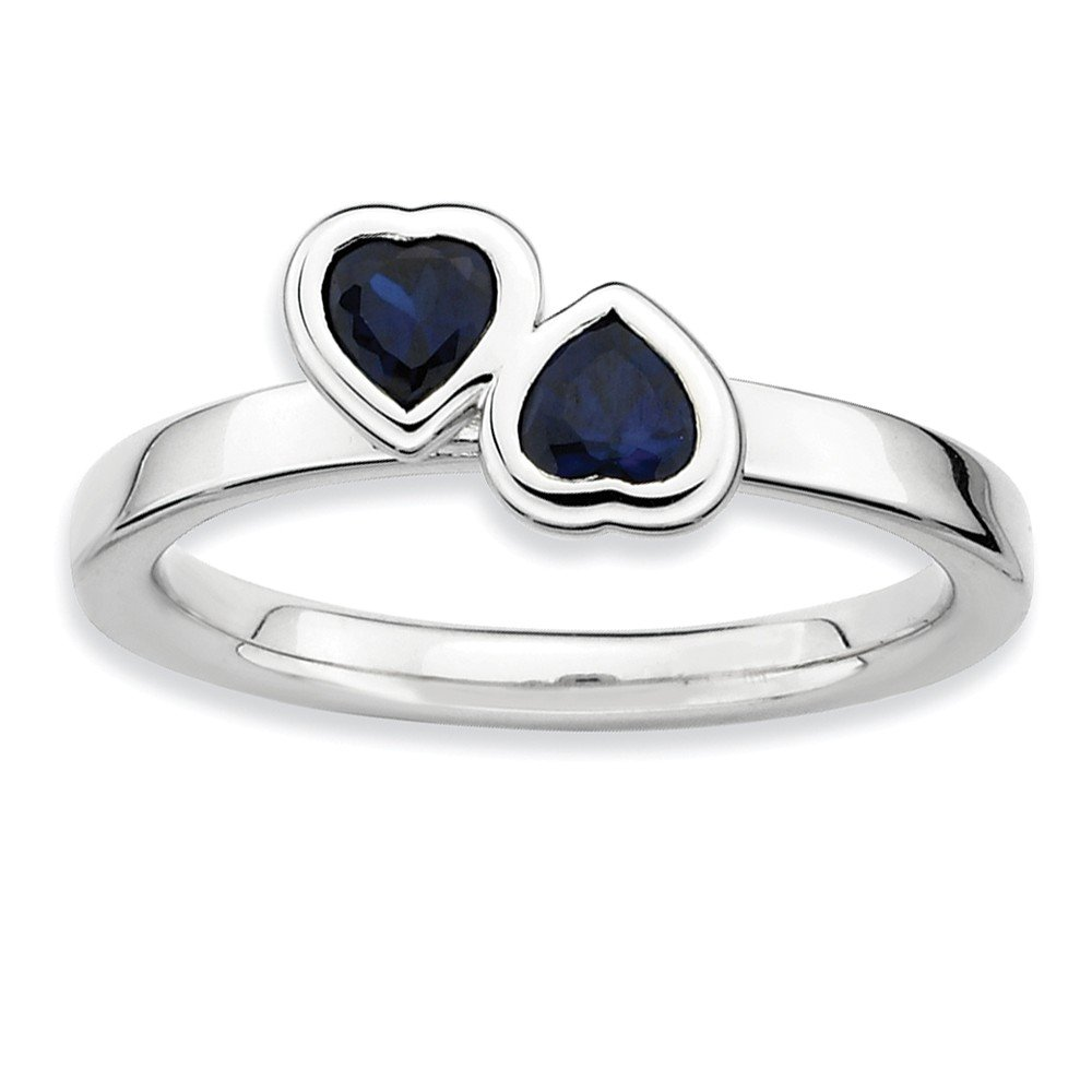 Top 10 Jewelry Gift Sterling Silver Stackable Expressions Cr. Sapphire Double Heart Ring