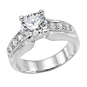 GIA Certified 14k white-gold Round Cut Diamond Engagement Ring (1.33 cttw, E Color, VS2 Clarity)