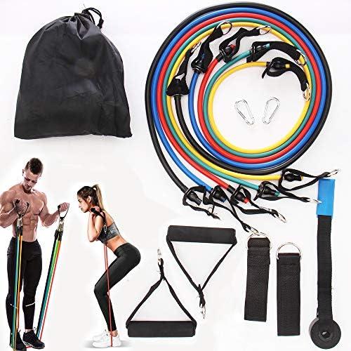 Kit de Bandas para Entrenar con 5 Tubos JiaLe Set de Bandas de Resistencia Cintas elasticas musculacion,Bandas el/ásticas para Entrenar con Soporte de 100lbs