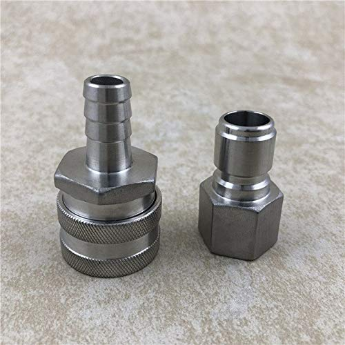 Casavidas Stainless Steel Quick Disconnect Set Male 1/2'' Female NPT, Female 1/2'' Hose Barb, Brewing Fittings: Set by Casavidas