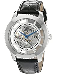 Invicta Mens Vintage Automatic Stainless Steel and Leather Casual Watch, Color:Black (Model: 22570)