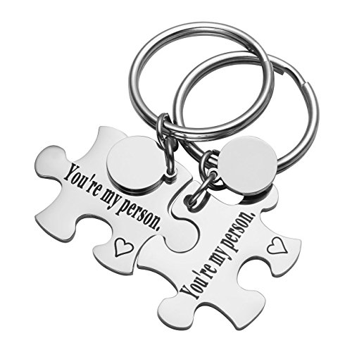 Personalized Master Free Engraving Custom Stainless Steel You're My Person Puzzle Matching Keychain/Necklace Set for Couples Valentines Day Best Friend Gift by Personalized Master