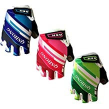 Finger Ten Kids Junior Cycling Gloves Outdoor Sport Road Mountain Bike Monkey Bars, Fit Boy Girl Youth Age 2-10, Gel Padding Bicycle Half Finger Pair, By