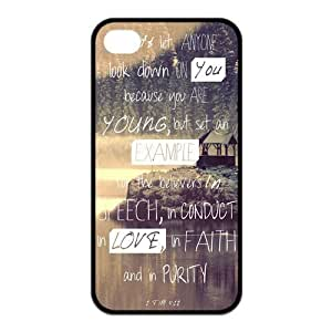 Bible Verse Protective Rubber Back Fits Cover Case for iPhone 4 4s