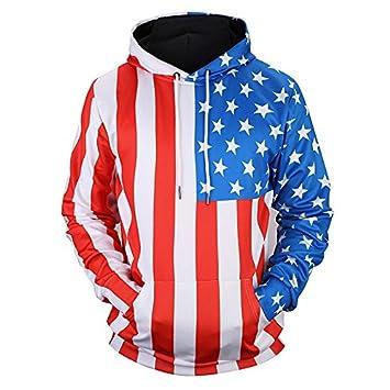 TOPDCLSN Los recién llegados Hombres/Mujeres Sudaderas Fina Impresión 3D Estrellas Rayas Unisex Sudaderas con Capucha Bandera USA Jerseys: Amazon.es: ...