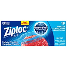 Ziploc Freezer Bags, Medium, 19 Count