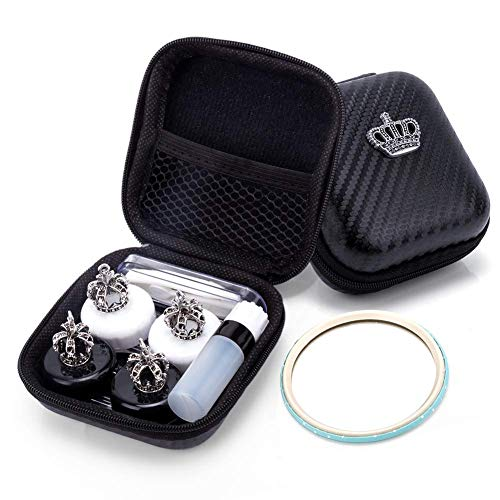 Mini Two Pair The Contact Lens Box Crown Cute Contact Lens Travel Case Contact Lens Case Container Holder Storage Box Portable Contact Lens Travel Kits Cute Crown -White and Black -