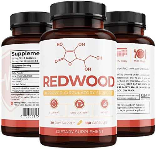 UMZU: Redwood: 100% Natural Nitric Oxide (30-Day Supply) - May Improve Blood Flow and Lower Blood Pressure - Can Visibly Treat Varicose Veins - for Optimal Health