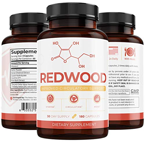 Truth Nutra - Redwood: 100% Natural Nitric Oxide (30-Day Supply) - May Improve Blood Flow and Lower Blood Pressure - Can Visibly Treat Varicose Veins - For Optimal Health