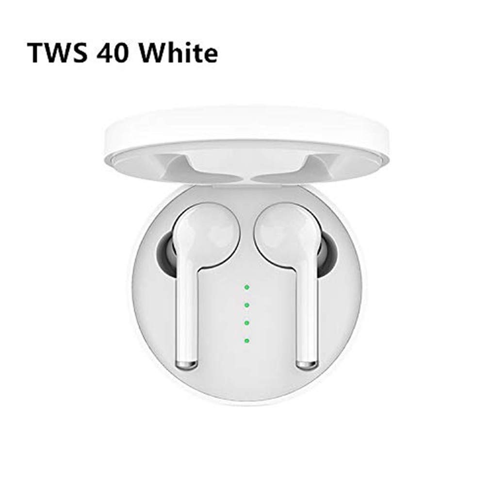 TW40 Bluetooth 5.0 Headset, Stereo Earbuds, Sports Music Running Yoga Gym Jogging Hiking Cycling Headphones with Charging Box White Noise Cancelling Headphones