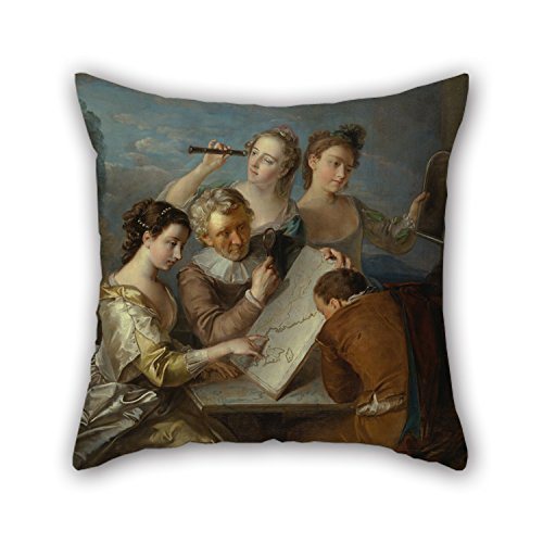 Elegancebeauty Oil Painting Philippe Mercier - The Sense Of Sight Christmas Pillow Cases 18 X 18 Inches / 45 By 45 Cm For Dinning Room Saloon Bedroom Her Festival Wife With Double Sides