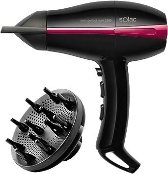 Solac, Sèche Cheveux Ionic Perfect Lissé SP7080, 2200W, Moteur pro AC, Compact, séchage ultra rapide, noir et rose