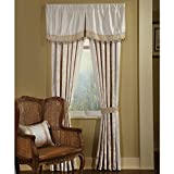 Veratex Verandah Collection Contemporary Style Polyester Bedroom Rod Pocket Window Curtain, Ivory