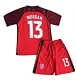 Morgan Jersey and Shorts #13 New USA National 3rd Alex for Kids/Youth Red Size (11-13 Years Old)