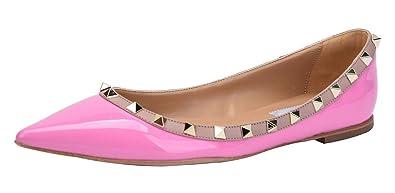 0d9bdfbffa29 Jiu du Women s Rivets Studded Flats Shoe Slip On Pointed Toe Wedding Dress  Shoes Purple Patent
