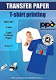 PPD Inkjet Iron-On Light T Shirt Transfer Paper LTR 8.5x11'' pack of 100 Sheets (PPD001-100)