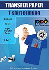 """Commercial grade t-shirt transfer paper for white and light color fabrics in 8.5X11"""" by Photo Paper Direct ( PPD ). Create custom designs that can include text, images or the two combined. Transfer these designs onto a wide range of fa..."""
