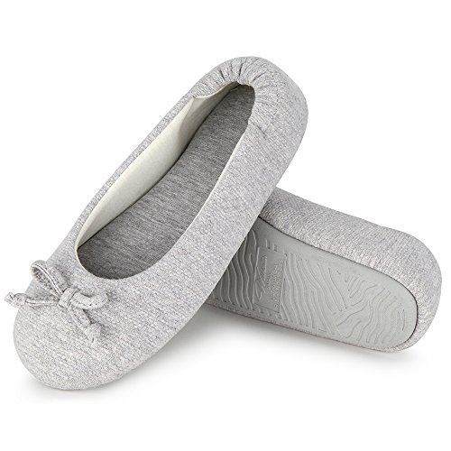 (Wishcotton Women's Cozy Memory Foam Breathable Cotton Terry Lining Washable Ballerina Style Slippers Anti-Skid House Indoor Shoes (XL, Light)