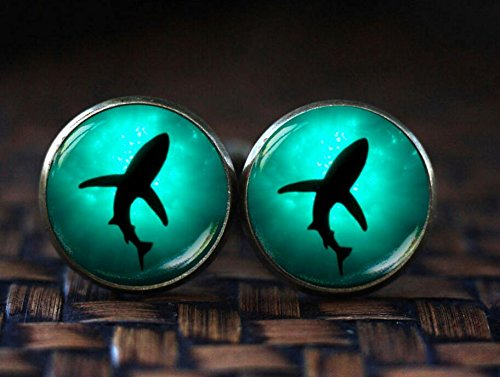 Shark cufflinks, shark jewelry, sea shark cufflinks, sea cufflinks, deep water cufflinks, ocean cufflinks, sea marine - Amethyst Silver Plated Cufflinks