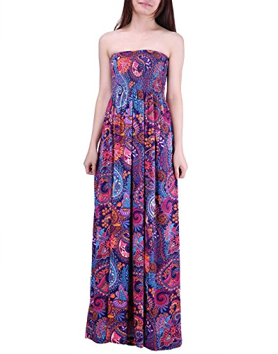 Knit Dress Shirred (HDE Women's Strapless Maxi Dress Plus Size Tube Top Long Skirt Sundress Cover Up (Purple Paisley, 2X))