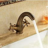Furesnts Modern home kitchen and bathroom faucet European-double handle antique brass sink bathroom hot and cold Bathroom Sink Basin Mixer Faucets,(Standard G 1/2 universal hose ports)