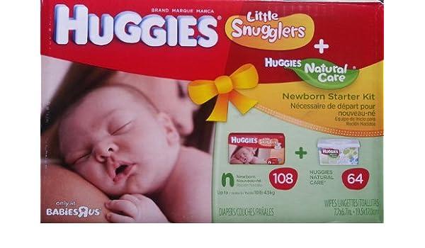 Amazon.com: Huggies Little Snugglers + Huggies Natural Care Wipes NB ...