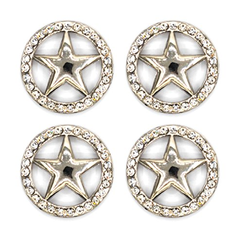 (DIY Leathercraft Accessories Conchos Button Bling Conchos with Screw (Star, 4 PCS))