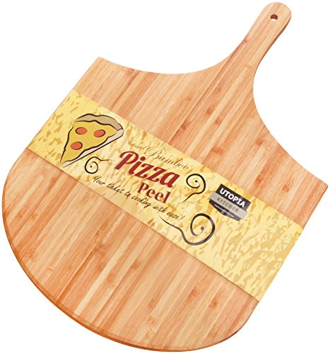 Bamboo Wood Pizza Peel, Paddle for Homemade Pizza and Bread Baking, Great for Cheese Board, Platter, Pizza Swooping, Wide Handle - By Utopia Kitchen