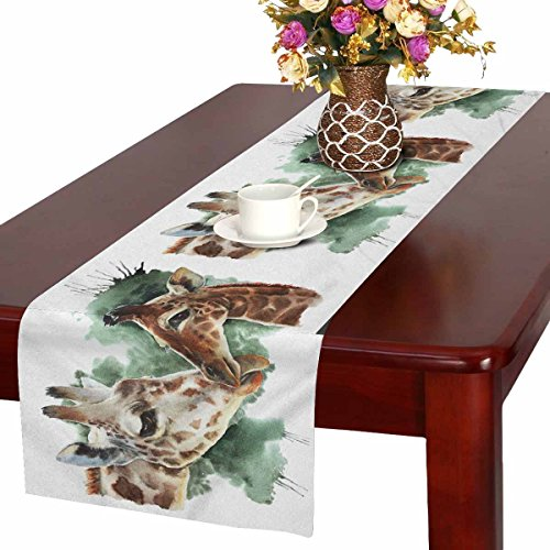 - INTERESTPRINT Watercolor Giraffe Table Runner Home Decor 16 X 72 Inch,Cute Wildlife Table Cloth Runner for Wedding Party Banquet Decoration