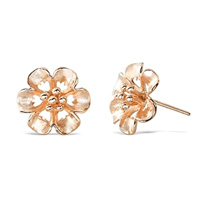 8a0ad3491df Image Unavailable. Image not available for. Color  Rose Gold Plated  Sterling Silver Flower Stud Earrings ...