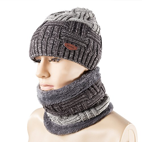 Winter Warm Beanie Knitting Hat Scarf Neck Warmer Set for Men and Women, Warm Fleece Lined Wool Baggy Slouchy Thick Ski Skull Cap by REDESS Warm Fleece Hat