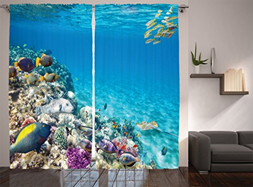 Ambesonne Ocean Decor Collection, Clear Underwater Sea Animal World with Corals and Tropical Fishes and Stingray Egyptian Sea Picture, Living Room Bedroom Curtain 2 Panels Set, 108 X 84 Inches, Aqua by Ambesonne