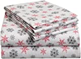 Pointehaven Heavy Weight Printed Flannel Sheet Set, Queen, Snow Flakes White